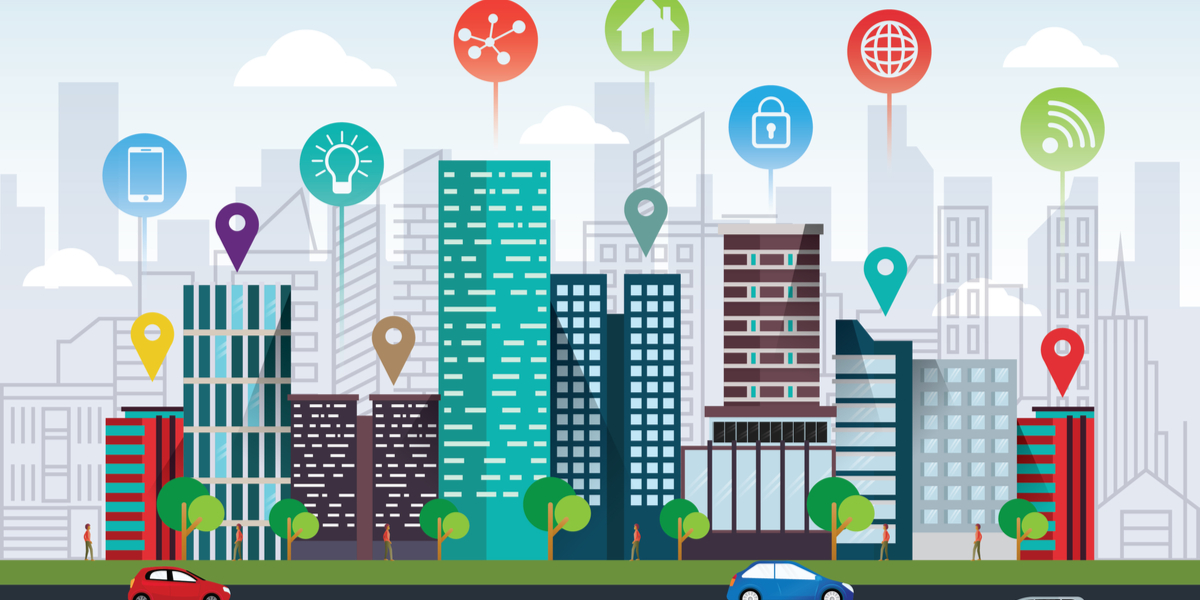 Animated colourful city with location icons and other icons