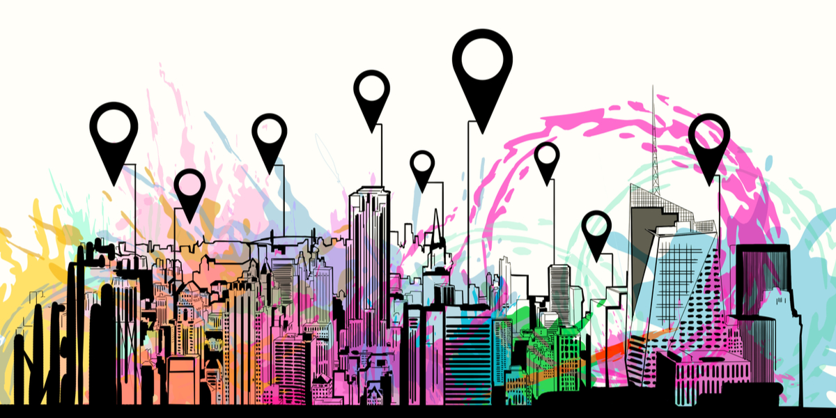 Colourful cityscape of buildings with location icons