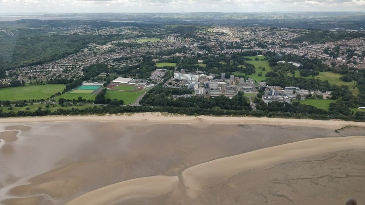 Ariel view of the Swansea University Campus