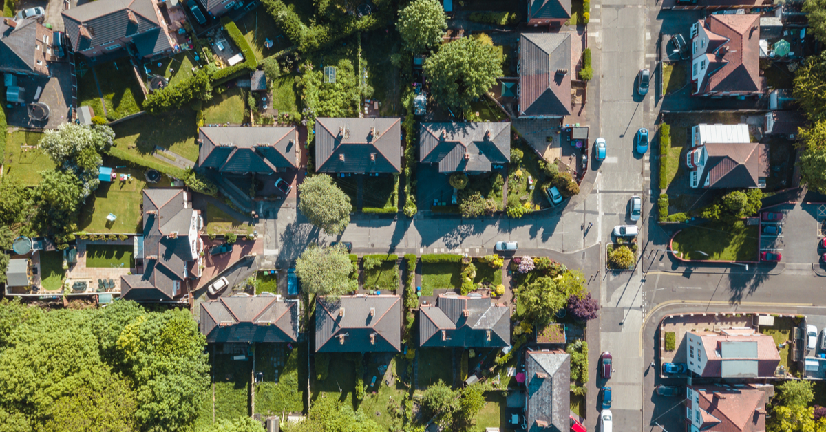 Aerial view of residential houses in the UK taken by drone