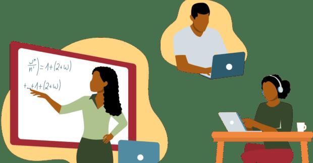 Black teacher female remote students